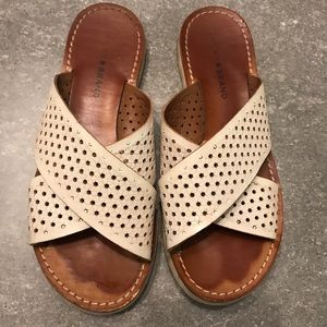 Lucky Brand Off-White Leather Perforated Slides -8